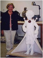 Mrs. Yvette O'Brien and the model of the statue of the little prince