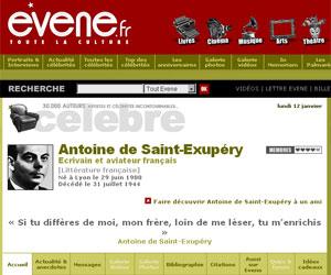 Site Evène - Antoine de Saint-Exupéry