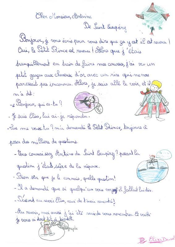 Les enfants écrivent à Antoine de Saint-Exupéry