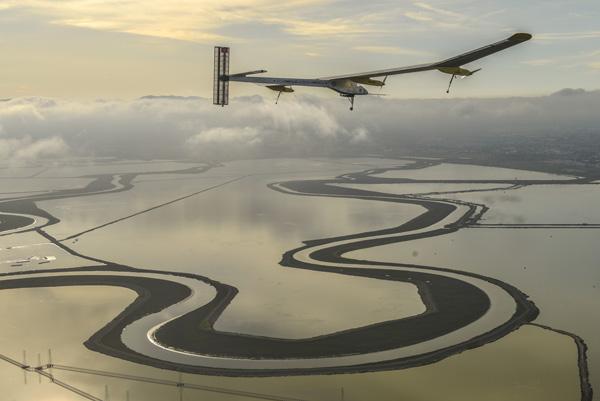 Solar Impulse Accross Amerca First Test Flight in Moffet field ( CA )
