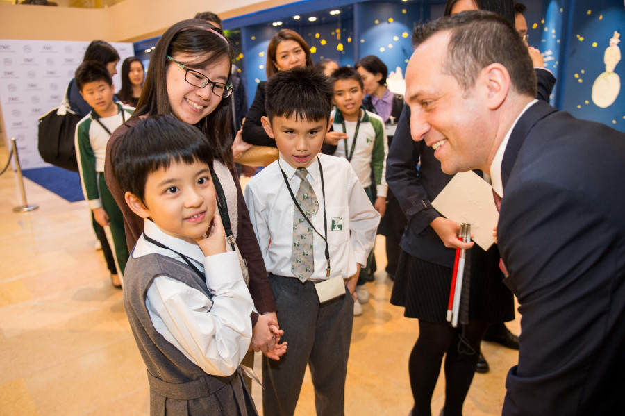 HANDOUT - Arnau Nazare-Aga artist of the The Little Prince Exhibition of and Olivier D' Agay great-nephew of the Antonie de Saint-Exupery attends the Ebenezer School Student Tour at The Little Prince Exhibitions at the Pacific Place shopping mall on 2nd of December 2015 in Hong Kong, China.  (PHOTOPRESS/ Photo by Aitor Alcalde / studioEAST)